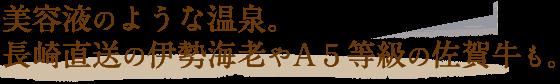 美容液のような温泉。長崎直送の伊勢海老やA5等級の佐賀牛も。